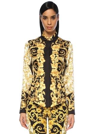 Kadın Barocco Siyah Gold Baskılı İpek Gömlek 44 IT
