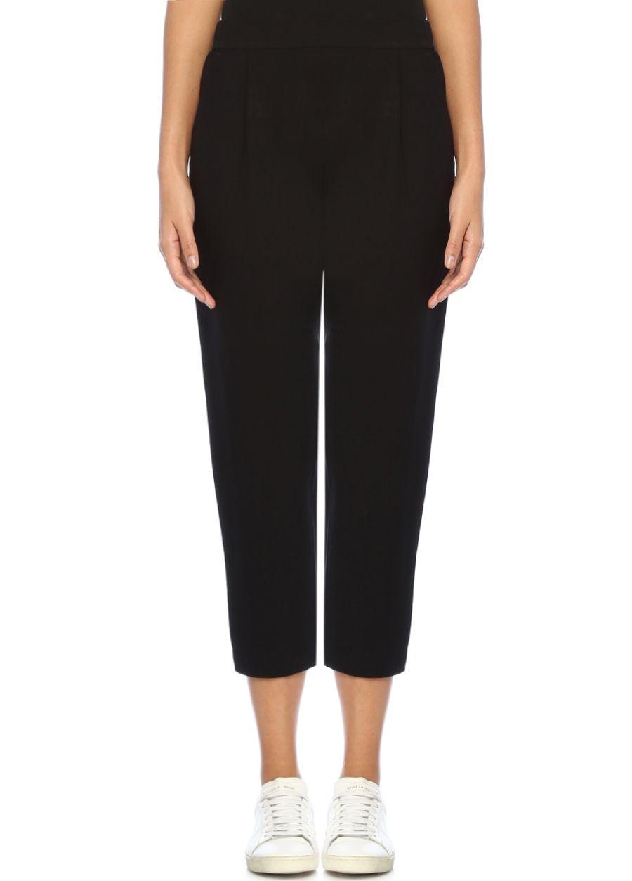 Allsaints Aleida Siyah Yüksek Bel Crop Pileli Pantolon