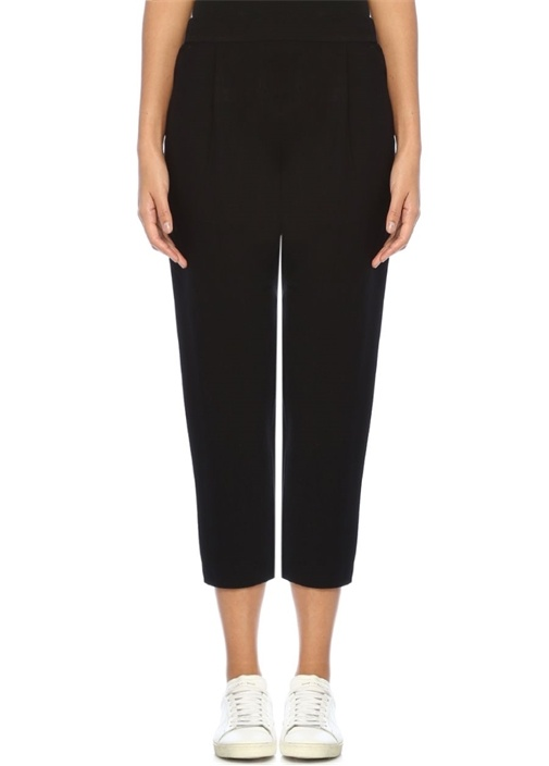 Aleida Siyah Yüksek Bel Crop Pileli Pantolon