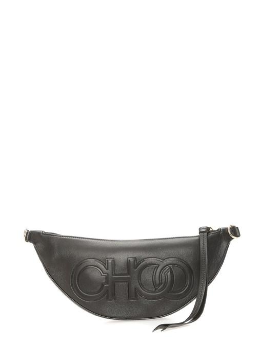 Faye Siyah Logo Kabartmalı Kadın Deri Çanta