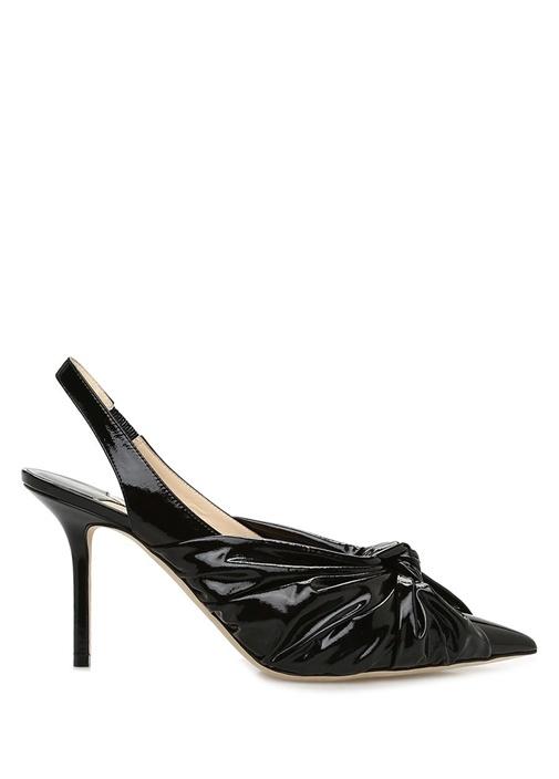 Annabell 85 Siyah Drapeli Deri Topuklu Ayakkabı