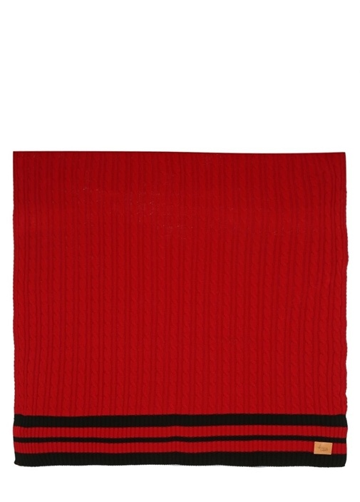 Kırmızı Siyah Saç Örgü Dokulu Battaniye
