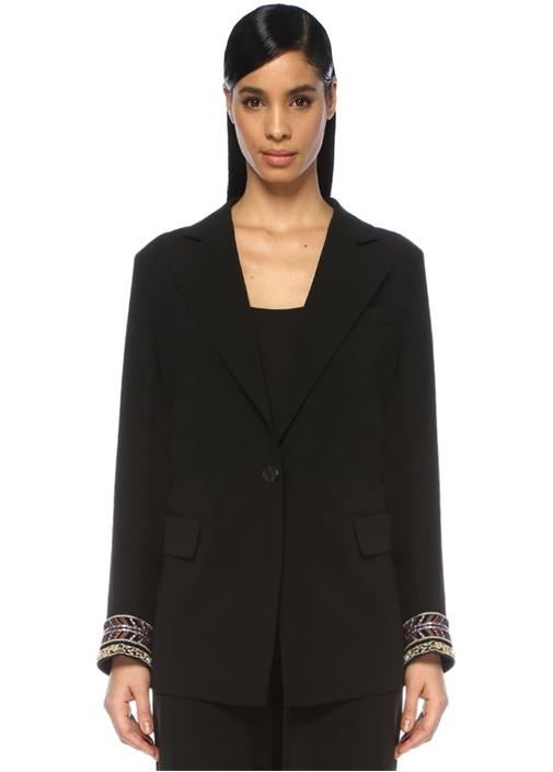 Siyah Kelebek Yaka Kolu İşleme Detaylı Krep Ceket