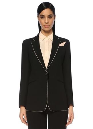 Siyah Kelebek Yaka Kontrast Şerit Detaylı Ceket