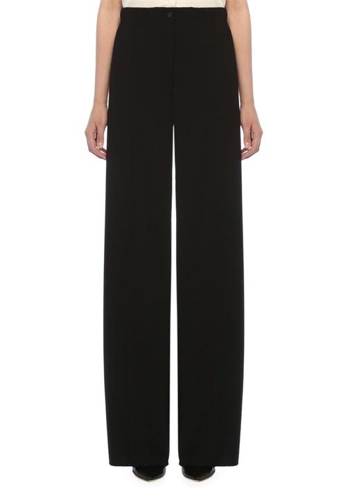 Siyah Normal Bel Bol Paça Yün Pantolon