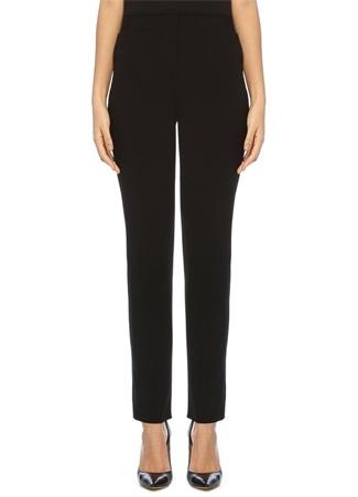 Siyah Beli Lastikli Dar Paça Yün Pantolon