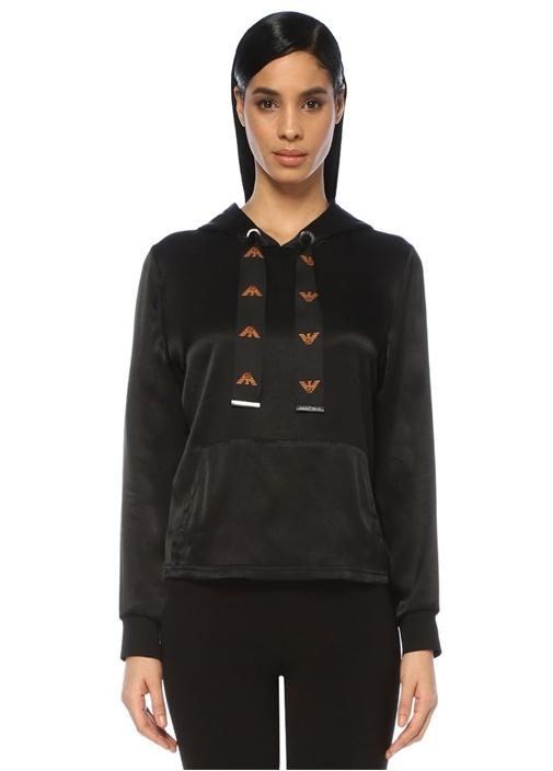 Siyah Kapüşonlu Logolu Kordonlu Saten Sweatshirt