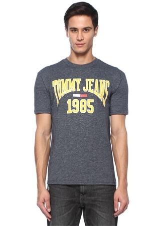 Collegiate Antrasit Logo Baskılı T-shirt