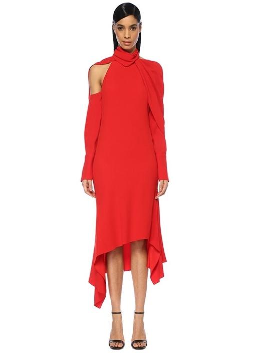 Monse Kırmızı Fularlı Omzu Açık Drapeli Midi Elbise – 10325.0 TL