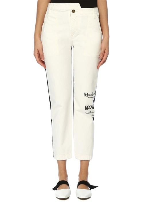 Half And Half Siyah Beyaz Yüksek Bel Jean Pantolon
