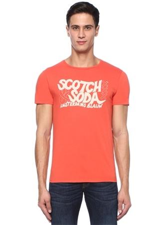 Turuncu Bisiklet Yaka Logo Baskılı T-shirt