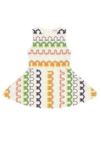 Kız Çocuk Ekru Desenli Elbise 2 Yaş EU