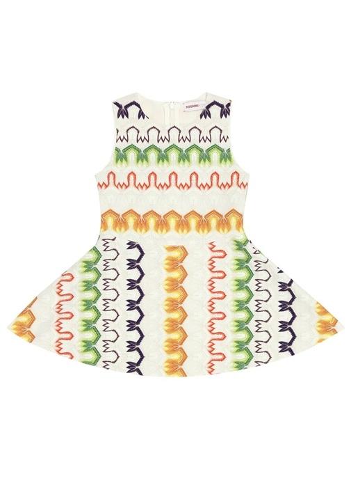 Ekru Desenli Kız Çocuk Elbise