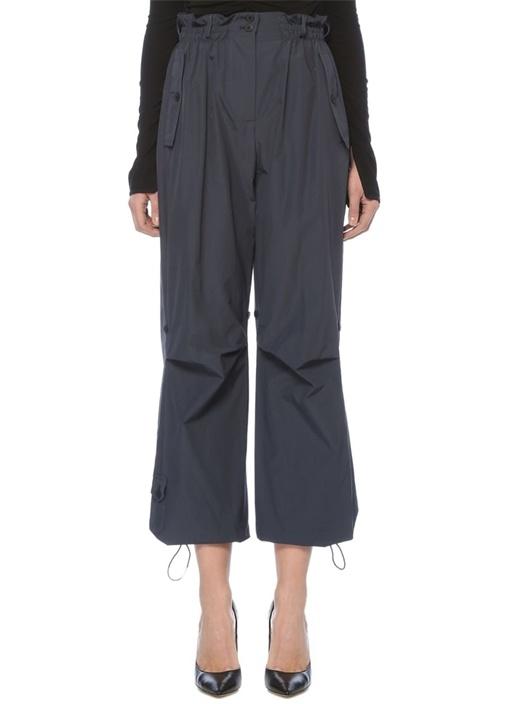 Lacivert Yüksek Bel Paçası Büzgülü Kargo Pantolon