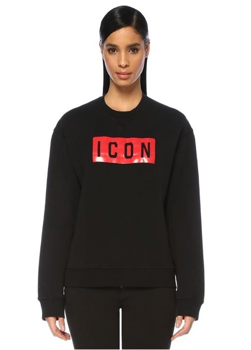 Icon Siyah Kırmızı Logo Baskılı Sweatshirt