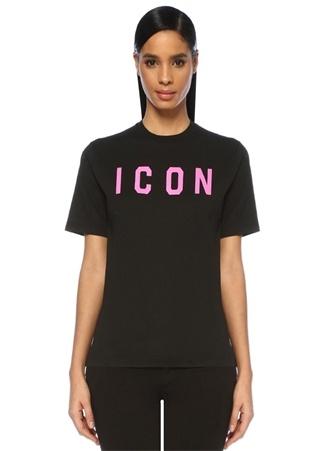Dsquared2 Kadın Icon Siyah Pembe Baskılı T-shirt EU female