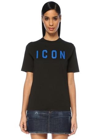 Icon Siyah Mavi Baskılı T-shirt