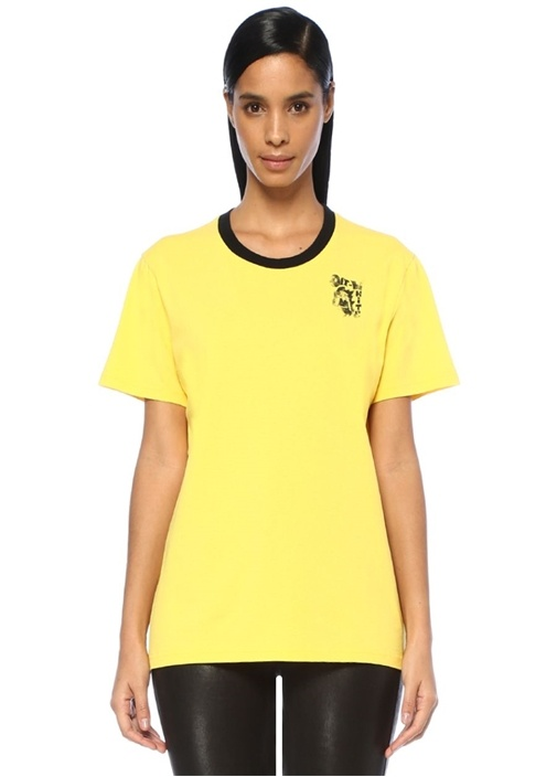 Off-whıte Sarı Siyah Bisiklet Yaka Logo Baskılı T-shirt – 749.0 TL