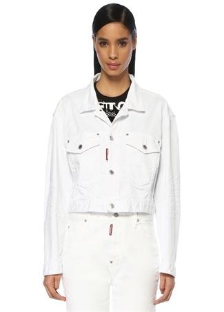 Maxi Beyaz Düğmeli Crop Jean Ceket