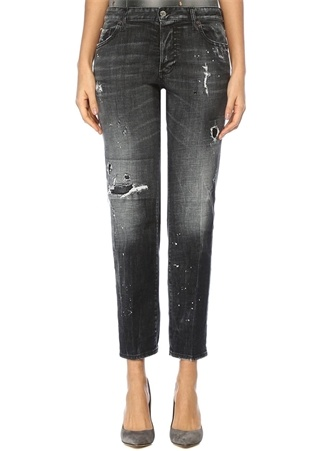 Night Stellata Gri Boyfriend Jean Pantolon