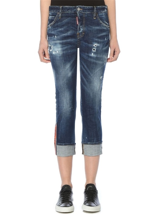 Cool Girl Yüksek Bel Yıpratmalı Crop Jean Pantolon
