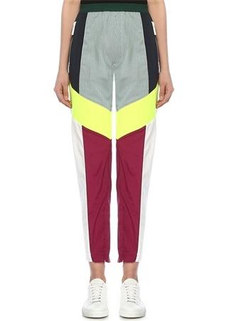 Yüksek Bel Colorblock Paçası Fermuarlı Pantolon