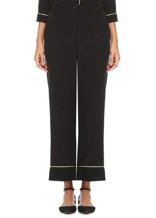 May Siyah Şeritli Pijama Formlu Bol İpek Pantolon