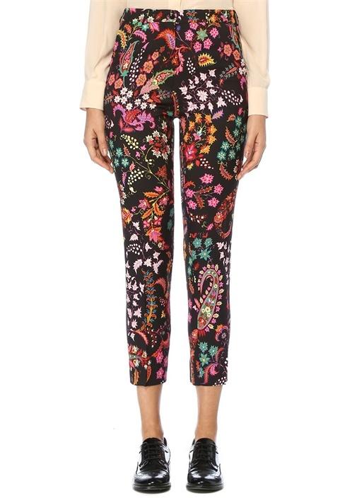 Siyah Normal Bel Çiçek Desenli Crop Pantolon