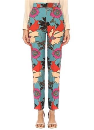 Mavi Yüksek Bel Çiçekli Boru Paça Yün Pantolon