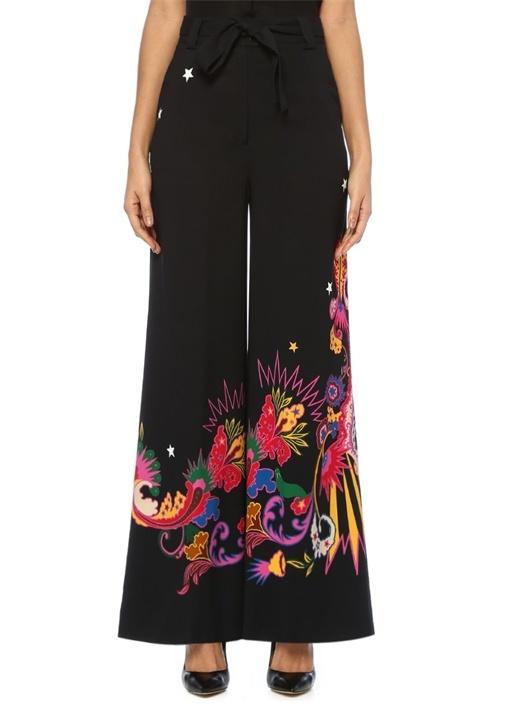 Siyah Yüksek Bel Kuşaklı Şal Desenli Bol Pantolon
