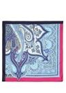 Mavi Pembe Desenli 90x90 Cm Kadın İpek Eşarp