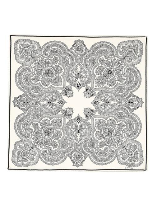 Siyah Beyaz Etnik Desenli 70x70cm Kadınİpek Eşarp