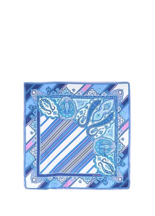 Mavi Karışık Desenli Kadın İpek Fular
