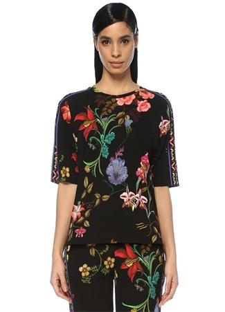 Siyah Çiçek Desenli Jersey Bluz
