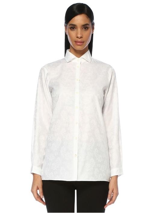 Slim Fit Beyaz Şal Desenli Gömlek