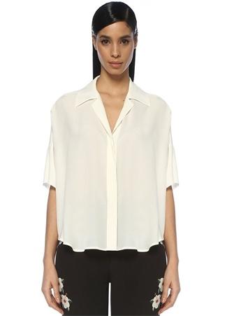 Beyaz Apaç Yaka Düşük Omuzlu İpek Gömlek