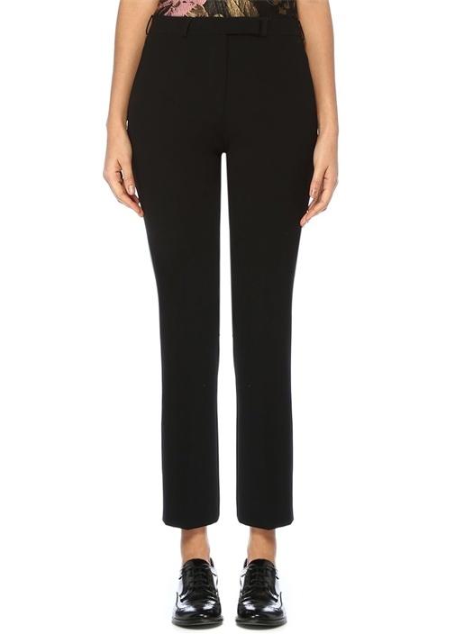 Siyah Normal Bel Boru Paça Crop Pantolon