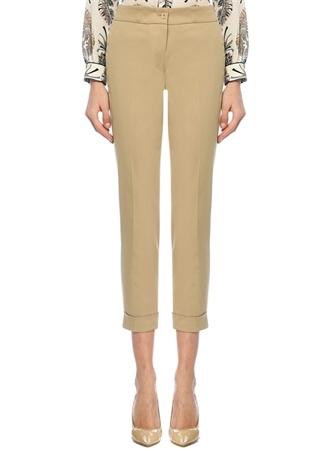 Bej Normal Bel Paçaları Katlı Pantolon