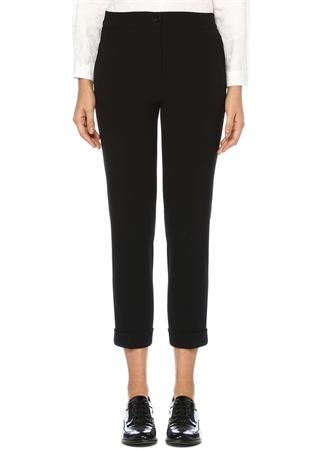 Siyah Normal Bel Paçası Katlı Crop Pantolon