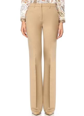 Bej Normal Bel Bol Paça Yün Pantolon