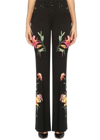Siyah Çiçek Desenli Bol Paça Saten Pantolon