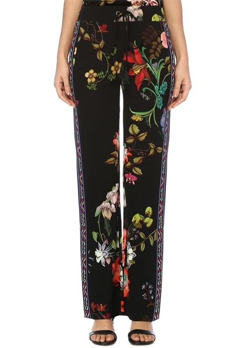 Siyah Normal Bel Çiçek Desenli Bol Pantolon