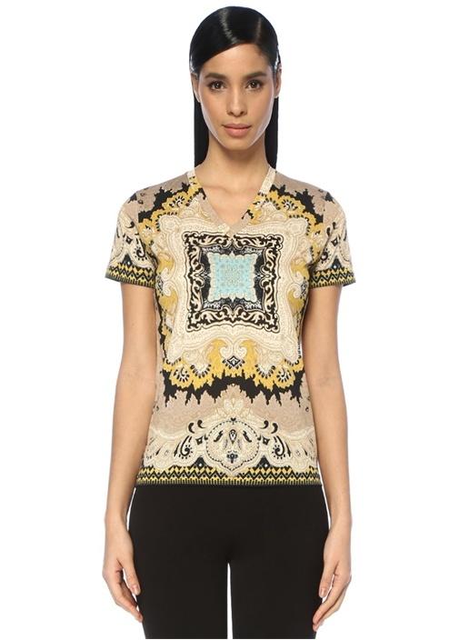 Siyah Bej Etnik Desenli T-shirt