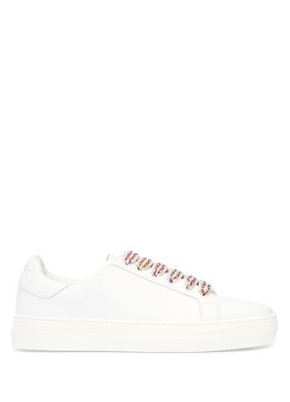 Beyaz Bağcık Detaylı Kadın Deri Sneaker