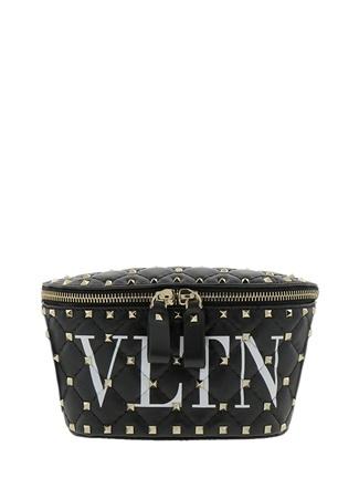 Valentino Garavani Kadın Siyah Rockstud Logo Baskılı Deri Bel Çantası 85 EU