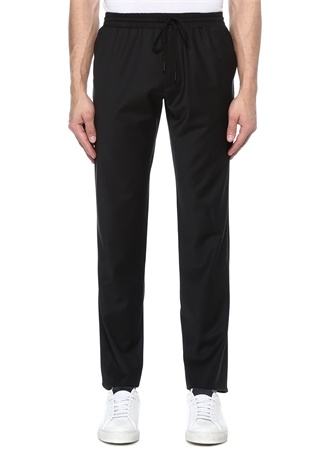 Siyah Normal Bel Klasik Yün Pantolon
