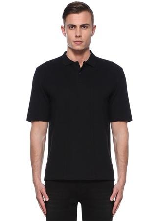 Erkek Siyah Polo Yaka Pike Dokulu T-shirt XS EU