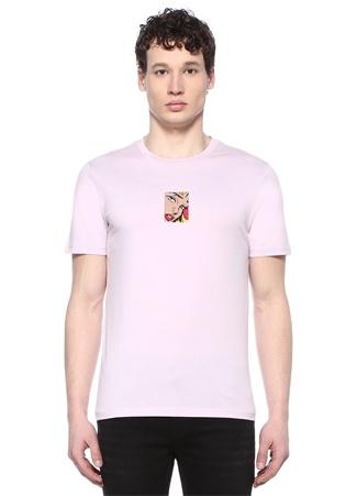 Erkek Lila Bisiklet Yaka Figür Patchli Basic T-shirt Mor M EU