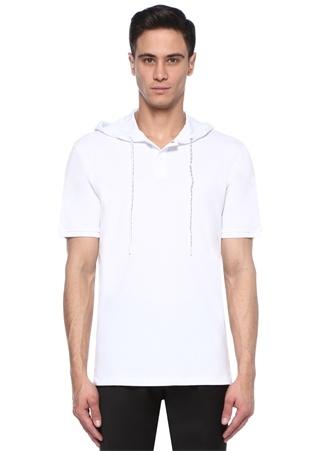 Erkek Beyaz Kapüşonlu T-shirt S EU