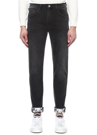 Siyah Paçası Baskı Detaylı Denim Pantolon